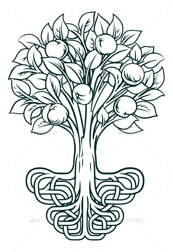 Apple Tree Roots Concept - Miscellaneous Vectors