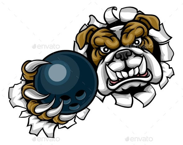 Bulldog Bowling Sports Mascot - Sports/Activity Conceptual