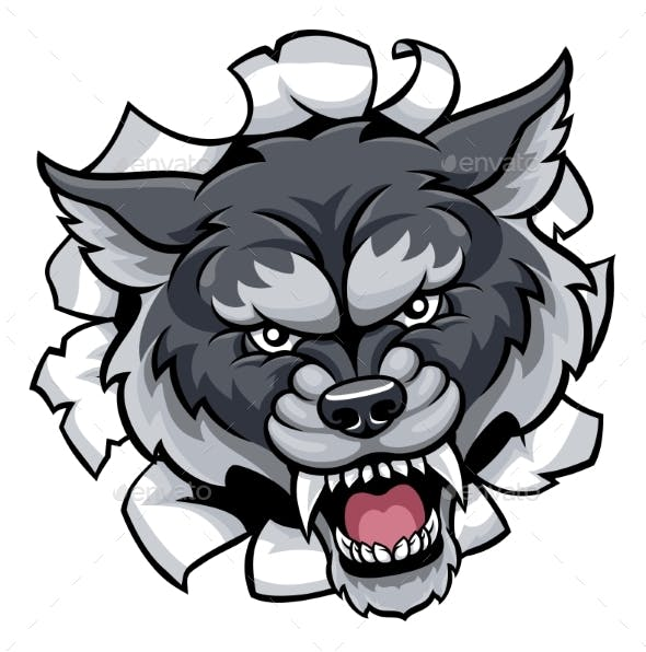 Wolf Sports Mascot Tearing Through Background