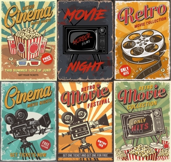Cinema Set of Posters - Miscellaneous Vectors