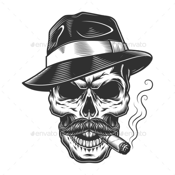 Monochrome Vintage Skull - Miscellaneous Vectors