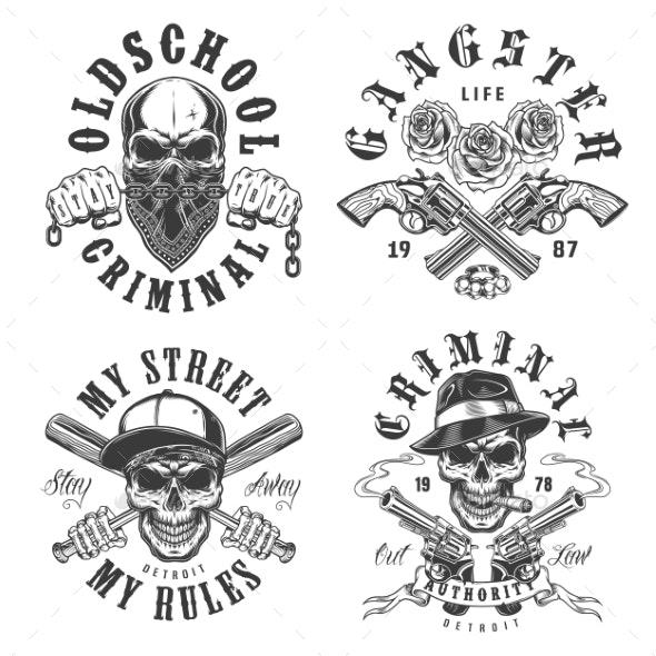 Set of Gangster Emblems - Miscellaneous Vectors