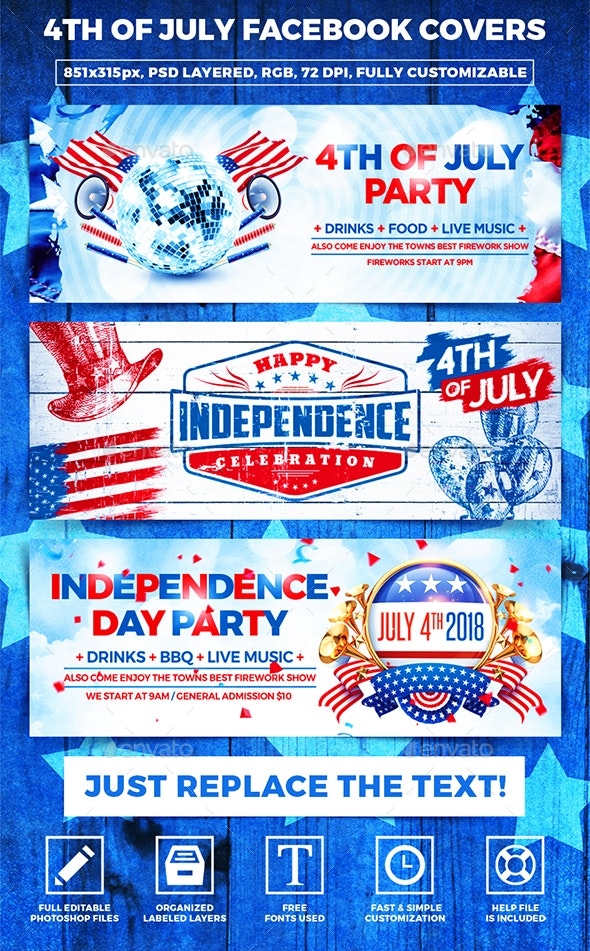 Independence Day Facebook Covers - Banners & Ads Web Elements