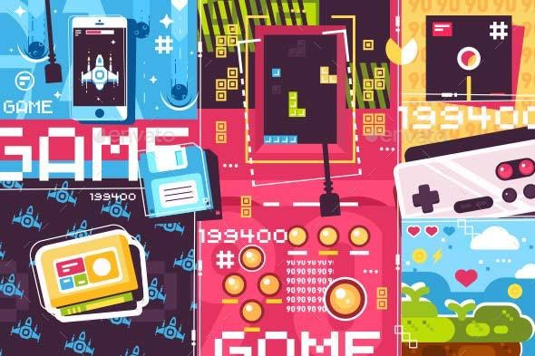 Video Game Abstract Background - Miscellaneous Vectors
