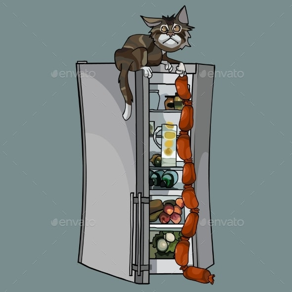 Cartoon Cat Stole Sausages From Fridge - Animals Characters