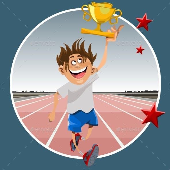 Cartoon Male Athlete Running with Prize Winning