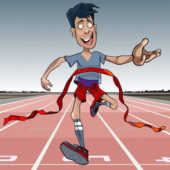 Cartoon Man First Reaches the Finish Line