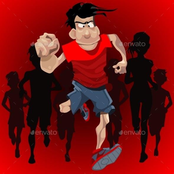 Cartoon Man Runs Ahead of a Crowd of Runners