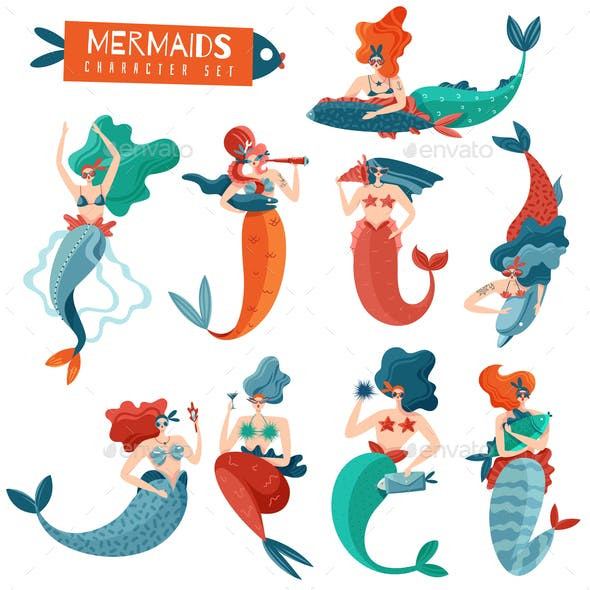 Mermaids Characters Set