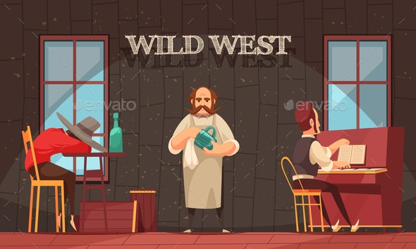 Wild West Bartender Background - Buildings Objects