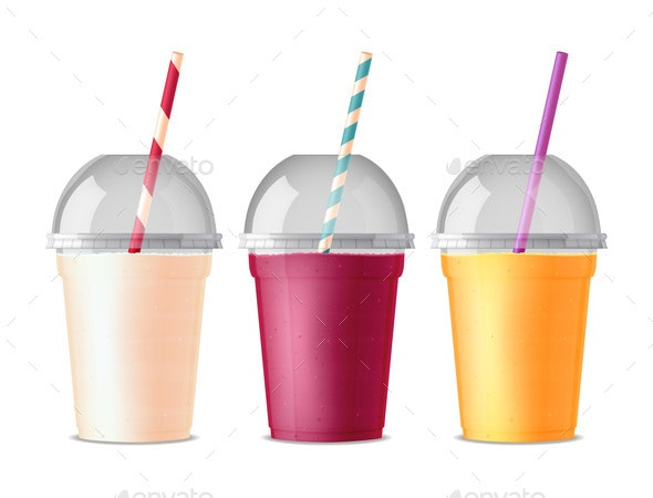 Takeout Fast Food Plastic Glasses - Food Objects