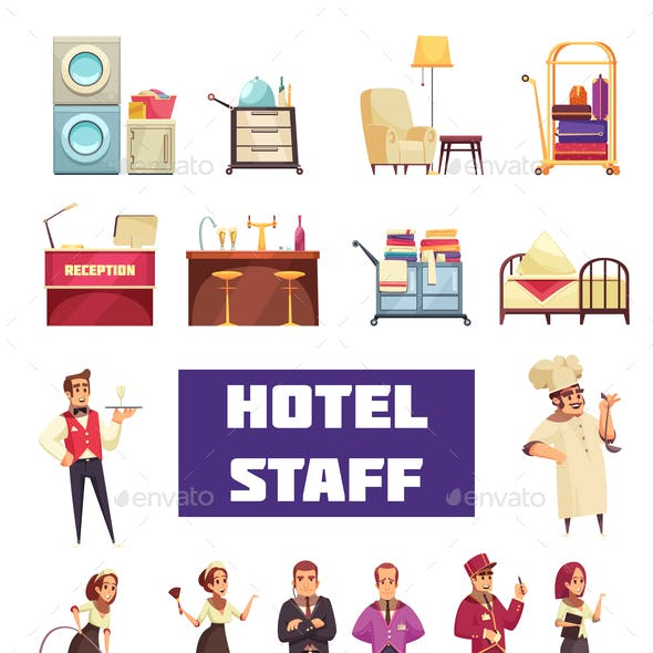 Flat Hotel Staff Set