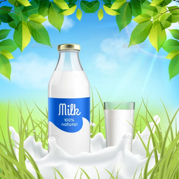 Milk Realistic Composition