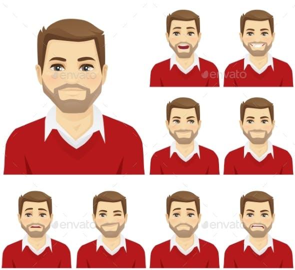 Beard Man Expression Set