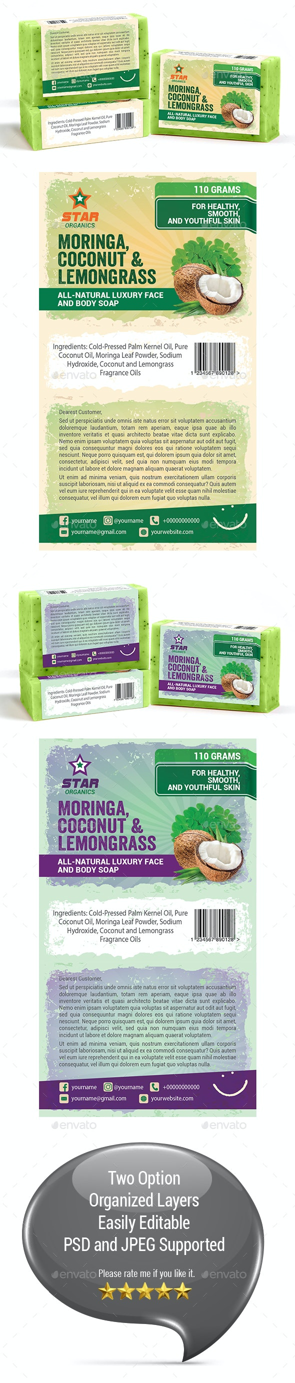 Organic Soap Label Template - Packaging Print Templates