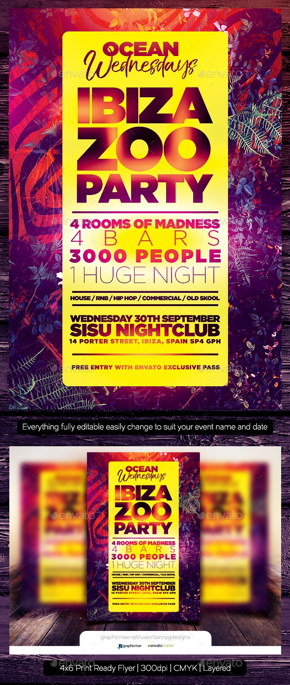 Ibiza Zoo Party Flyer Template - Clubs & Parties Events