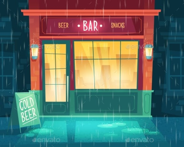 Vector Bar Shop Window Entrance