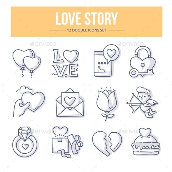 Love Story Doodle Concept