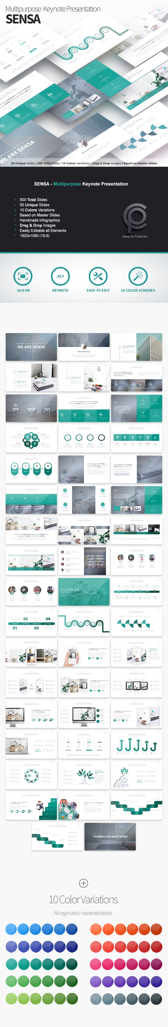 Sensa - Multipurpose Keynote Presentation - Business Keynote Templates