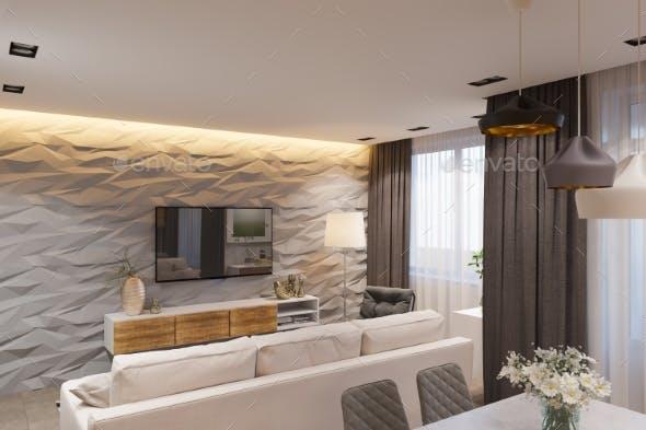 3d Render Interior Design in Scandinavian Style