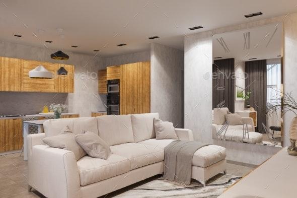 3d Render Interior Design in Scandinavian Style - 3D Backgrounds