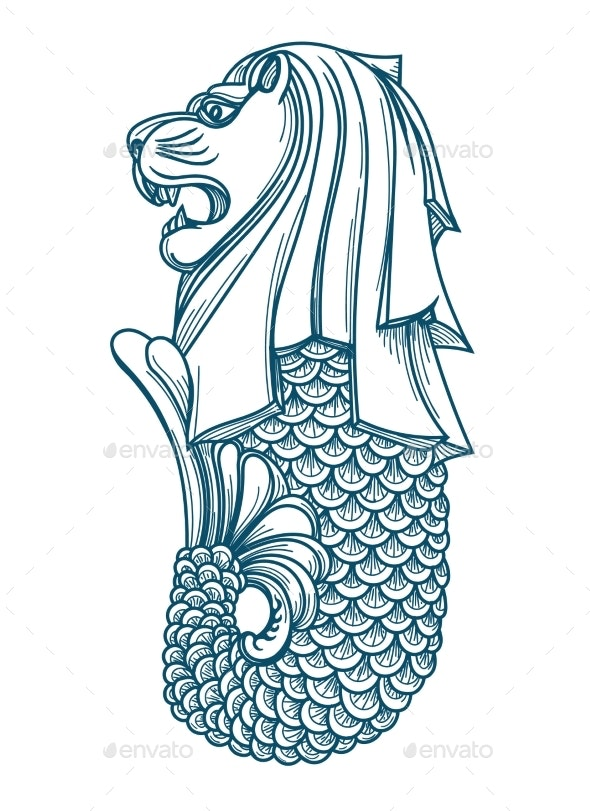 Singapore Merlion Icon - Abstract Conceptual