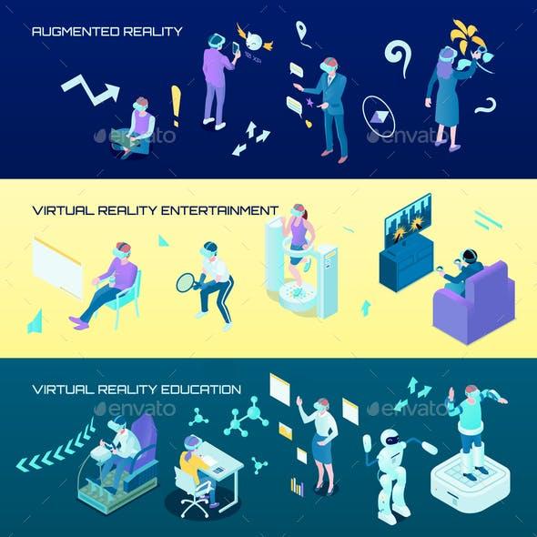 Virtual Reality Isometric Horizontal Banners