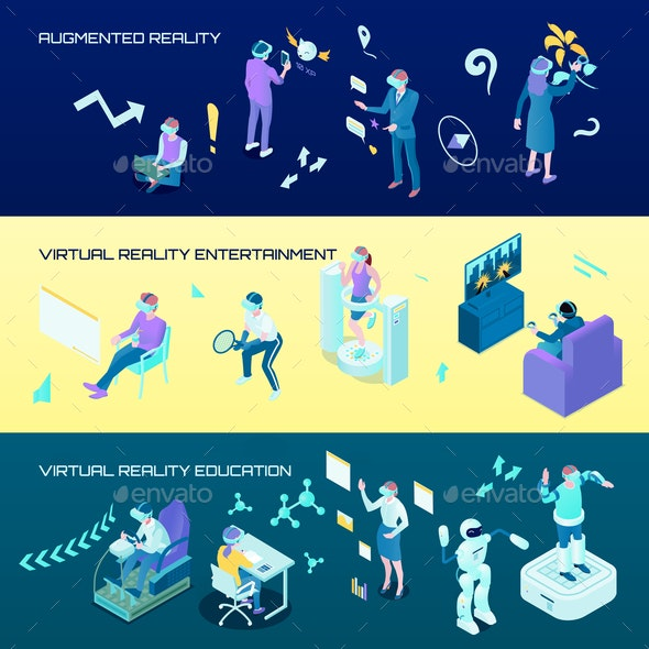 Virtual Reality Isometric Horizontal Banners - Sports/Activity Conceptual