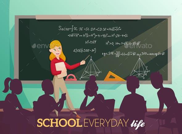 School Daily Life Cartoon Illustration