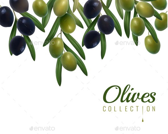 Realistic Olives Background