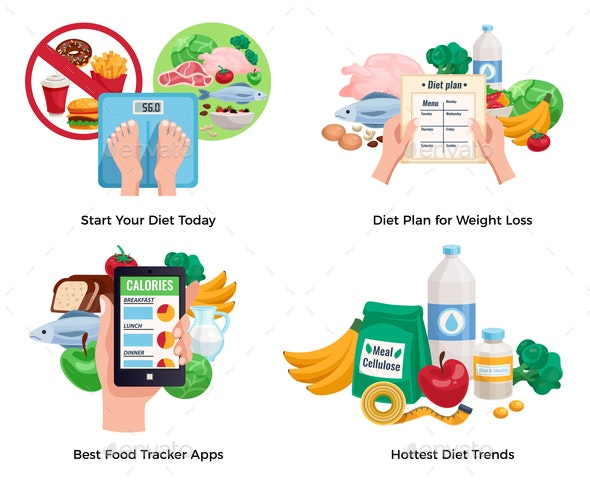 Diet For Weight Loss 2x2 Design Concept - Food Objects