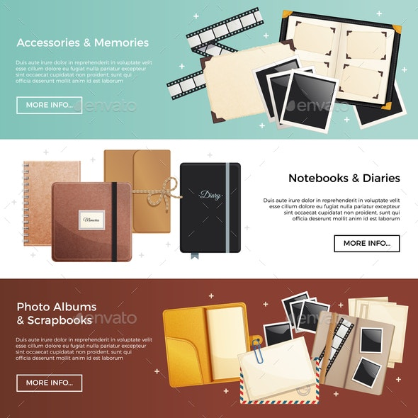 Accessories and Memories Horizontal Banners - Miscellaneous Vectors