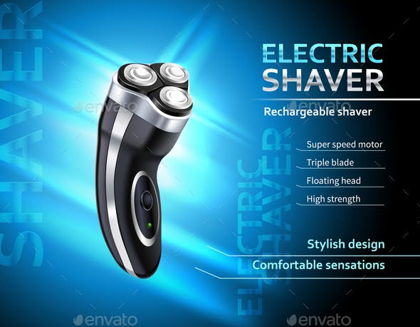 Realistic Electric Shaver Advertising Poster