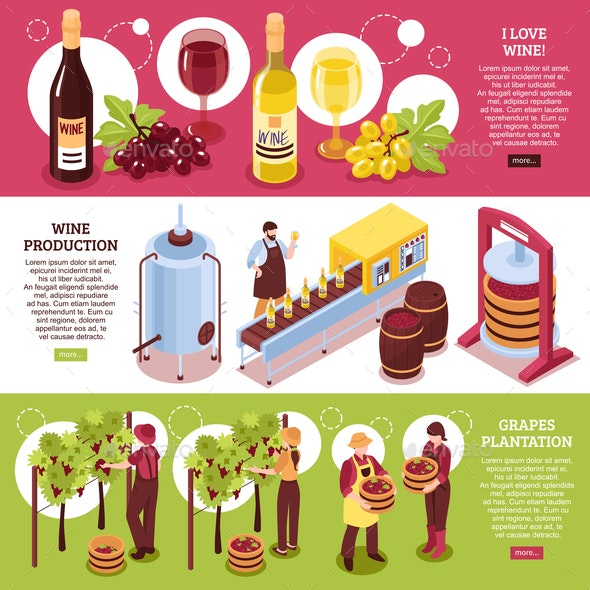 Winery Isometric Horizontal Banners - Food Objects
