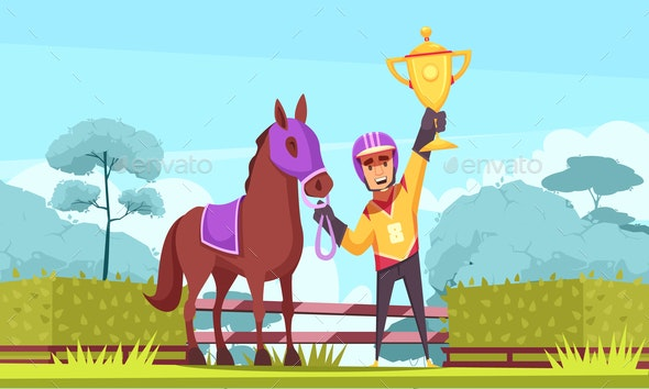 Flat Equestrian Sport Composition - People Characters
