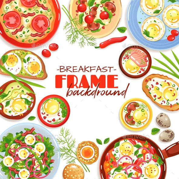 Egg Dishes Frame Background - Food Objects