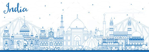 Outline India City Skyline with Blue Buildings