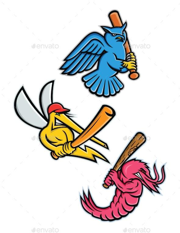 Wildlife Baseball Sporting Mascot Collection - Sports/Activity Conceptual