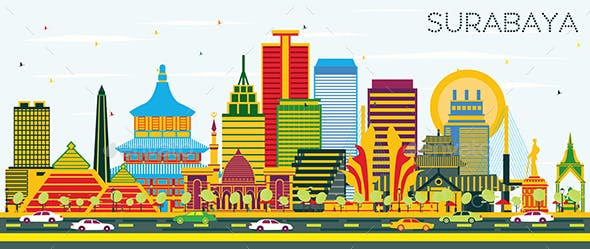 Surabaya Indonesia Skyline with Color Buildings