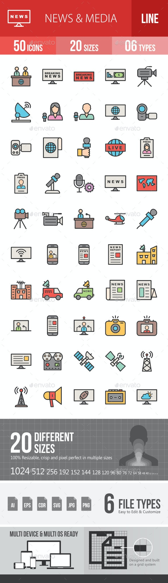 News & Media Line Filled Icons - Icons