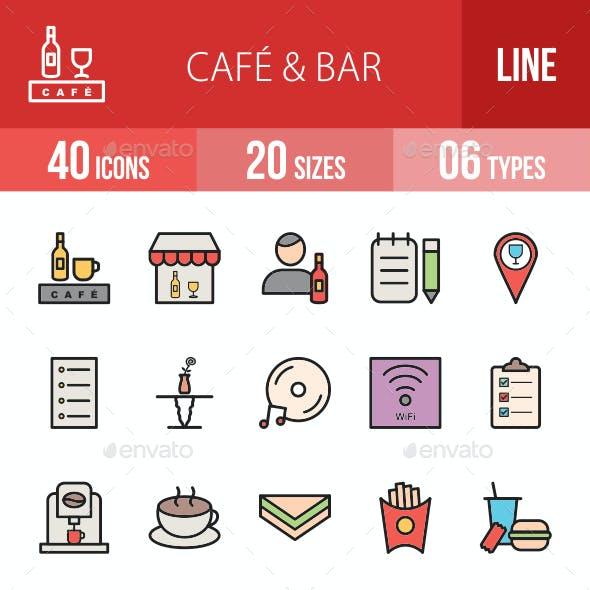 Cafe & Bar Filled Line Icons