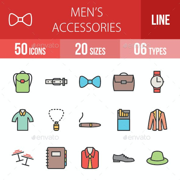 Men's Accessories Line Filled Icons