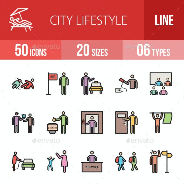 City Lifestyle Filled Line Icons