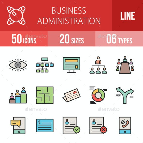 Business Administration Filled Line Icons