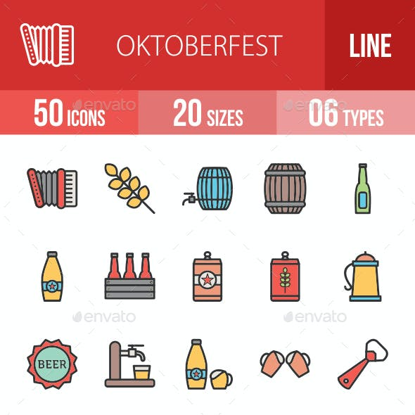 Oktoberfest Filled Line Icons
