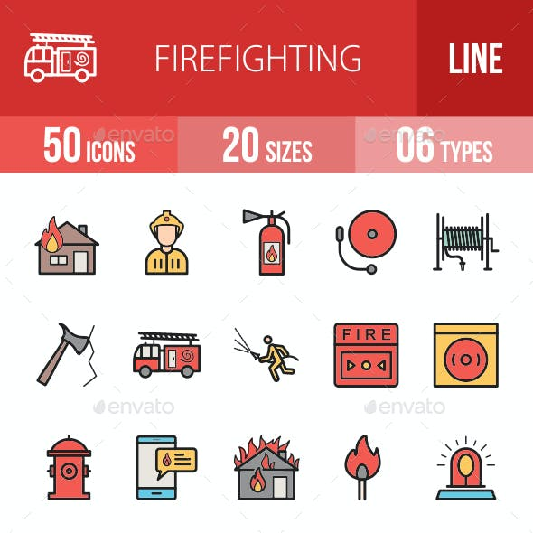 Firefighting Filled Line Icons