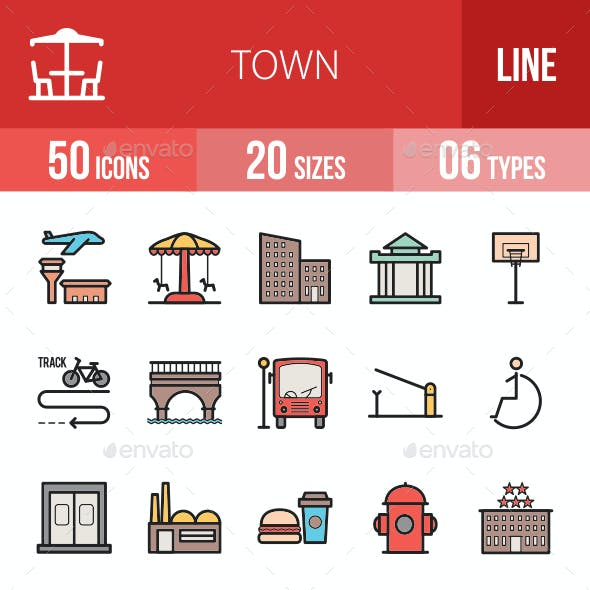 Town Filled Line Icons
