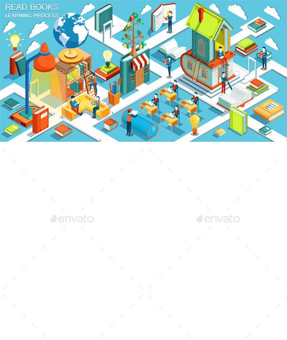 Education Isometric Concept - Web Technology