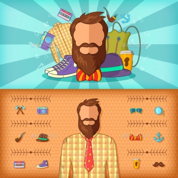 Hipster Man Banner Set Horizontal - People Characters