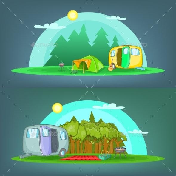 Camping 2 Banner Set Horizontal - Landscapes Nature